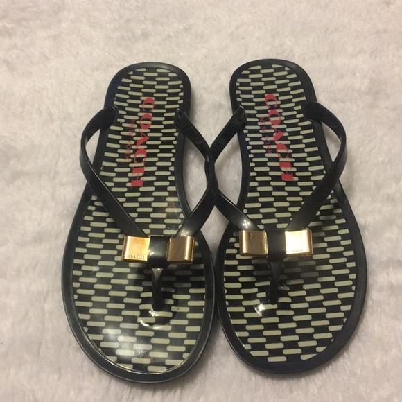 3cd93cf1c1aea COACH Landon jelly flip flops gold bows size 6